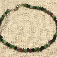 Ruby Zoisite Faceted 3x2mm Beads And 925 Sterling Silver Bracelet | Natural genuine Gemstone jewelry. Buy crystal jewelry, handmade handcrafted artisan jewelry for women.  Unique handmade gift ideas. #jewelry #beadedjewelry #beadedjewelry #gift #shopping #handmadejewelry #fashion #style #product #jewelry #affiliate #ad