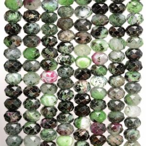 Shop Ruby Zoisite Faceted Beads! 8x5MM  Ruby Zoisite Gemstone Grade AB Micro Faceted Rondelle Loose Beads 15.5 inch Full Strand (80009944-A203) | Natural genuine faceted Ruby Zoisite beads for beading and jewelry making.  #jewelry #beads #beadedjewelry #diyjewelry #jewelrymaking #beadstore #beading #affiliate #ad