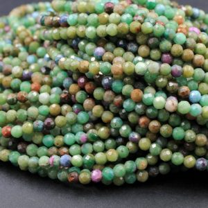 "Shop Ruby Zoisite Faceted Beads! Micro Faceted Small Natural Ruby Fuchsite Fuschite Ruby Zoisite 3mm 4mm Faceted Round Beads Laser Diamond Cut Gemstone 16"" Strand 