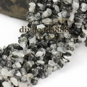35 inch strand of Black Rutilated Quartz chip beads,irregular beads 5-8mm | Natural genuine chip Rutilated Quartz beads for beading and jewelry making.  #jewelry #beads #beadedjewelry #diyjewelry #jewelrymaking #beadstore #beading #affiliate #ad