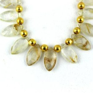 Shop Rutilated Quartz Faceted Beads! 1 Strand Natural Golden Rutile Quartz Marquise Shape Faceted Approx 8x16mm Bead Rutilated Beads Natural Golden Rutile,Best Quality,Wholesale | Natural genuine faceted Rutilated Quartz beads for beading and jewelry making.  #jewelry #beads #beadedjewelry #diyjewelry #jewelrymaking #beadstore #beading #affiliate #ad