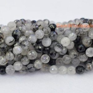 "15.5"" Natural black rutilated quartz 8mm round faceted beads,black white color semi-precious stone, gemstone wholesale,natural crystal beads 