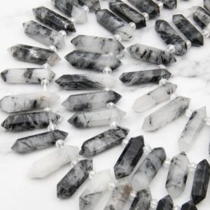 Natural Rutilated Quartz Point Beads,Double Obelisk Large Crystals Quartz Point Beads,Healing Crystals,Top Drilled Hole Crystals Gemstone. | Natural genuine other-shape Rutilated Quartz beads for beading and jewelry making.  #jewelry #beads #beadedjewelry #diyjewelry #jewelrymaking #beadstore #beading #affiliate #ad