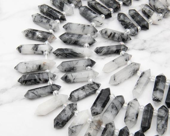 Natural Rutilated Quartz Point Beads,double Obelisk Large Crystals Quartz Point Beads,healing Crystals,top Drilled Hole Crystals Gemstone.