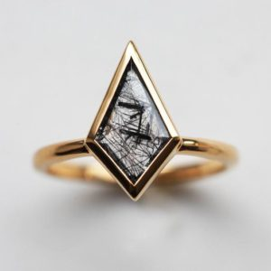 kite Rutile Quartz Ring, Black Rutilated Quartz Ring, Unique Quartz Ring, Kite Shaped Ring | Natural genuine Rutilated Quartz rings, simple unique handcrafted gemstone rings. #rings #jewelry #shopping #gift #handmade #fashion #style #affiliate #ad