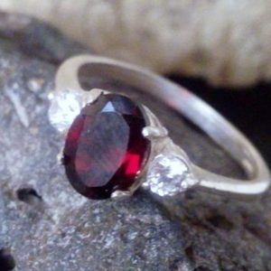 Shop Garnet Rings! Sale! January Birthstone Ring, triple Garnet Ring, red Engagement Ring, alternative Ring, Wedding Gift, Gift For Her | Natural genuine Garnet rings, simple unique alternative gemstone engagement rings. #rings #jewelry #bridal #wedding #jewelryaccessories #engagementrings #weddingideas #affiliate #ad