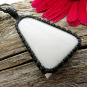 Shop Scolecite Necklaces! Macrame Jewelry, Scolecite Necklace, Macrame Necklace, Healing, Inner Peace,  Angel Necklace, White Crystal, For Mother, Macrame Jewelry | Natural genuine Scolecite necklaces. Buy crystal jewelry, handmade handcrafted artisan jewelry for women.  Unique handmade gift ideas. #jewelry #beadednecklaces #beadedjewelry #gift #shopping #handmadejewelry #fashion #style #product #necklaces #affiliate #ad