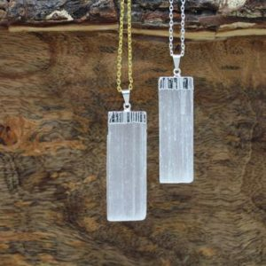 Selenite Pendant Silver Plated, Selenite Jewelry, Selenite Necklace, Gift, Raw Selenite Crystal, Healing Crystals | Natural genuine Gemstone pendants. Buy crystal jewelry, handmade handcrafted artisan jewelry for women.  Unique handmade gift ideas. #jewelry #beadedpendants #beadedjewelry #gift #shopping #handmadejewelry #fashion #style #product #pendants #affiliate #ad