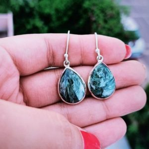 Shop Seraphinite Earrings! Seraphinite Earring, 925 Sterling Silver, Green Stone , Birthday Gift, Valentine's Gift, Hippie Earring, Boho Earring. Free Shipping. | Natural genuine Seraphinite earrings. Buy crystal jewelry, handmade handcrafted artisan jewelry for women.  Unique handmade gift ideas. #jewelry #beadedearrings #beadedjewelry #gift #shopping #handmadejewelry #fashion #style #product #earrings #affiliate #ad
