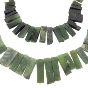 Shop Serpentine Chip & Nugget Beads! Serpentine Bar Beads -unpolished Natural Amazing Green Beads – One (1) Strand (s108b6-01) | Natural genuine chip Serpentine beads for beading and jewelry making.  #jewelry #beads #beadedjewelry #diyjewelry #jewelrymaking #beadstore #beading #affiliate #ad