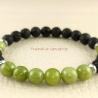 Black Lava And Serpentine, Longevity, Protection, Courage, Security, Beaded Bracelet, Healing For Men & Women, Gift For Mom And Women 3933 | Natural genuine Gemstone jewelry. Buy handcrafted artisan men's jewelry, gifts for men.  Unique handmade mens fashion accessories. #jewelry #beadedjewelry #beadedjewelry #shopping #gift #handmadejewelry #jewelry #affiliate #ad