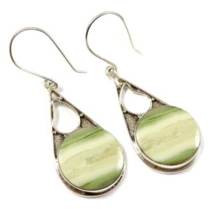Shop Serpentine Earrings! Serpentine Earring Gemstone Natural Handcraft Solid 925 Sterling Silver Earring Jewelry Drop Dangle Earrnig EO43 | Natural genuine Serpentine earrings. Buy crystal jewelry, handmade handcrafted artisan jewelry for women.  Unique handmade gift ideas. #jewelry #beadedearrings #beadedjewelry #gift #shopping #handmadejewelry #fashion #style #product #earrings #affiliate #ad