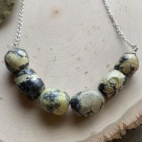 Serpentine With Pyrite Gemstone Silver Chained Necklace, Natural Gemstone, Rock Jewelry, Handmade.   Natural genuine Gemstone jewelry. Buy crystal jewelry, handmade handcrafted artisan jewelry for women.  Unique handmade gift ideas. #jewelry #beadedjewelry #beadedjewelry #gift #shopping #handmadejewelry #fashion #style #product #jewelry #affiliate #ad