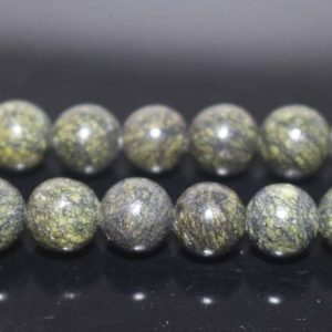Natural Serpentine Smooth Round Beads, natural Serpentine Beads, 4mm 6mm 8mm 10mm 12mm Natural Beads, green Beads, one Strand 15"