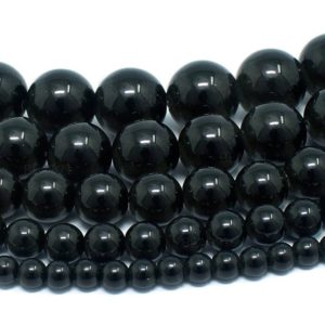 "Shungite Beads Natural Gemstone Round Loose – 4mm 6mm 8mm 10mm 12mm – 15.5"" Strand 