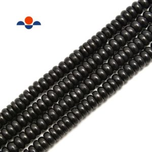 Shop Shungite Beads! Shungite Smooth Rondelle Beads Size 4x6mm 5x8mm 6x10mm 15.5'' Per Strand | Natural genuine rondelle Shungite beads for beading and jewelry making.  #jewelry #beads #beadedjewelry #diyjewelry #jewelrymaking #beadstore #beading #affiliate #ad