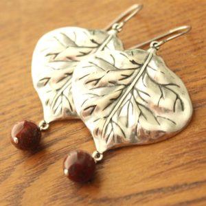 Shop Tiger Iron Earrings! Silver Leaf Earrings with Tiger Iron Beads – Surgical Steel Earwires | Natural genuine Tiger Iron earrings. Buy crystal jewelry, handmade handcrafted artisan jewelry for women.  Unique handmade gift ideas. #jewelry #beadedearrings #beadedjewelry #gift #shopping #handmadejewelry #fashion #style #product #earrings #affiliate #ad