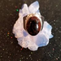 Silver Plated Unisex Mahogany Obsidian Statement Ring, Size 9. Bohemian Design. | Natural genuine Gemstone jewelry. Buy crystal jewelry, handmade handcrafted artisan jewelry for women.  Unique handmade gift ideas. #jewelry #beadedjewelry #beadedjewelry #gift #shopping #handmadejewelry #fashion #style #product #jewelry #affiliate #ad