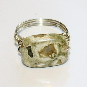 Shop Rainforest Jasper Jewelry! Silver Plated Wirewrapped Ryolite/Rainforest Jasper Ring   Natural genuine Rainforest Jasper jewelry. Buy crystal jewelry, handmade handcrafted artisan jewelry for women.  Unique handmade gift ideas. #jewelry #beadedjewelry #beadedjewelry #gift #shopping #handmadejewelry #fashion #style #product #jewelry #affiliate #ad