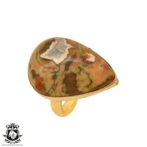 Shop Rainforest Jasper Rings! Size 10.5 – Size 12 Adjustable Rhyolite Rainforest Jasper 24K Gold Plated Ring GPR1016   Natural genuine Rainforest Jasper rings, simple unique handcrafted gemstone rings. #rings #jewelry #shopping #gift #handmade #fashion #style #affiliate #ad
