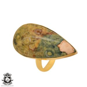 Shop Rainforest Jasper Rings! Size 10.5 – Size 12 Adjustable Rhyolite Rainforest Jasper 24K Gold Plated Ring GPR1015   Natural genuine Rainforest Jasper rings, simple unique handcrafted gemstone rings. #rings #jewelry #shopping #gift #handmade #fashion #style #affiliate #ad