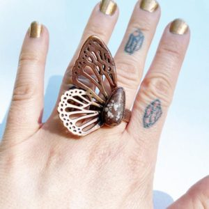 Size 9, Wild Horse Magnesite Butterfly Wing Ring // Electroformed Jewelry // Copper, Natural Stone, Paisley Design Band, Statement Ring | Natural genuine Array rings, simple unique handcrafted gemstone rings. #rings #jewelry #shopping #gift #handmade #fashion #style #affiliate #ad