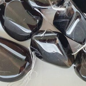 Shop Smoky Quartz Chip & Nugget Beads! Dark Smoky Quartz large tumbled nuggets. 17 beads. 20 to 28mm long beads. 16 inch strand. | Natural genuine chip Smoky Quartz beads for beading and jewelry making.  #jewelry #beads #beadedjewelry #diyjewelry #jewelrymaking #beadstore #beading #affiliate #ad