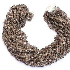 Shop Smoky Quartz Chip & Nugget Beads! Smoky Quartz Uncut Chips 5mm Beads Necklace | 34inch Strand | Natural Semi Precious Gemstone Smooth Chips Beads | Jewelry Making Supplies | Natural genuine chip Smoky Quartz beads for beading and jewelry making.  #jewelry #beads #beadedjewelry #diyjewelry #jewelrymaking #beadstore #beading #affiliate #ad