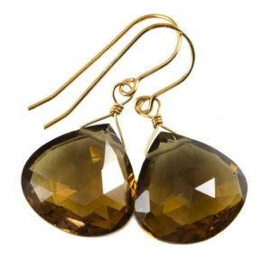 Shop Smoky Quartz Earrings! Whiskey Cognac Smoky Quartz Earrings Large Heart Sterling Silver or 14k Solid Gold or Yellow or Rose Filled Teardrop Natural Classic Drops | Natural genuine Smoky Quartz earrings. Buy crystal jewelry, handmade handcrafted artisan jewelry for women.  Unique handmade gift ideas. #jewelry #beadedearrings #beadedjewelry #gift #shopping #handmadejewelry #fashion #style #product #earrings #affiliate #ad