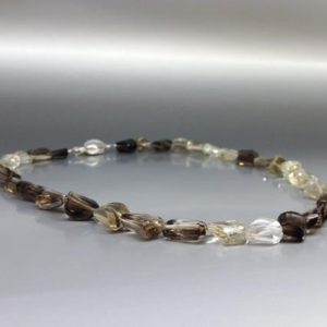 Shop Smoky Quartz Necklaces! Shaded Smoky Quartz necklace with silver clasp – unique  gift for her – faceted tumble dark and light natural gemstone brown ombre necklace | Natural genuine Smoky Quartz necklaces. Buy crystal jewelry, handmade handcrafted artisan jewelry for women.  Unique handmade gift ideas. #jewelry #beadednecklaces #beadedjewelry #gift #shopping #handmadejewelry #fashion #style #product #necklaces #affiliate #ad