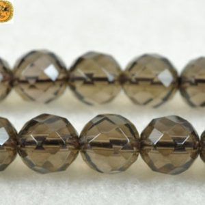 15 Inch Strand Of Smoky Quartz Faceted(64 Faces) Round Beads 6mm 8mm 10mm 12mm 14mm For Choice | Natural genuine round Gemstone beads for beading and jewelry making.  #jewelry #beads #beadedjewelry #diyjewelry #jewelrymaking #beadstore #beading #affiliate #ad