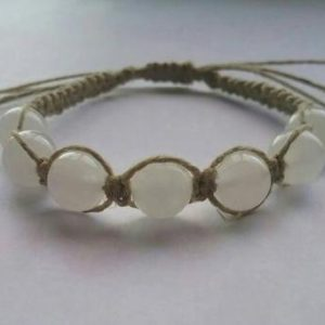 Shop Hemp Jewelry! Snow Quartz Hemp Bracelet, Natural Hemp, Handcrafted, Adjustable, Milky Quartz, Gemstone Jewelry, Gemstone Hemp Bracelet, Minimalist | Shop jewelry making and beading supplies, tools & findings for DIY jewelry making and crafts. #jewelrymaking #diyjewelry #jewelrycrafts #jewelrysupplies #beading #affiliate #ad