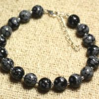 925 Sterling Silver And Gemstone – 8mm Snowflake Obsidian Bracelet | Natural genuine Gemstone jewelry. Buy crystal jewelry, handmade handcrafted artisan jewelry for women.  Unique handmade gift ideas. #jewelry #beadedjewelry #beadedjewelry #gift #shopping #handmadejewelry #fashion #style #product #jewelry #affiliate #ad
