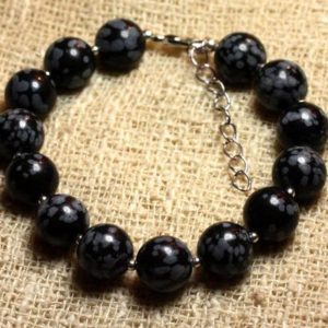 Shop Snowflake Obsidian Bracelets! Bracelet 925 sterling silver and 10mm speckled snowflake Obsidian – stone | Natural genuine Snowflake Obsidian bracelets. Buy crystal jewelry, handmade handcrafted artisan jewelry for women.  Unique handmade gift ideas. #jewelry #beadedbracelets #beadedjewelry #gift #shopping #handmadejewelry #fashion #style #product #bracelets #affiliate #ad