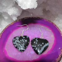 Snowflake Obsidian Earrings,  Obsidian Heart Earrings, Drop Earrings, Sterling Silver Earrings, Gemstone Earrings | Natural genuine Gemstone jewelry. Buy crystal jewelry, handmade handcrafted artisan jewelry for women.  Unique handmade gift ideas. #jewelry #beadedjewelry #beadedjewelry #gift #shopping #handmadejewelry #fashion #style #product #jewelry #affiliate #ad