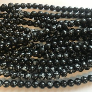 Shop Snowflake Obsidian Beads! Snowflake Obsidian 8mm Smooth Round Gemstone Bead–15.5 inch strand | Natural genuine beads Snowflake Obsidian beads for beading and jewelry making.  #jewelry #beads #beadedjewelry #diyjewelry #jewelrymaking #beadstore #beading #affiliate #ad