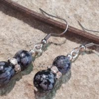 Snowflakes Obsidian Earrings 8 / 10 Mm Stainless Steel #003 | Natural genuine Gemstone jewelry. Buy crystal jewelry, handmade handcrafted artisan jewelry for women.  Unique handmade gift ideas. #jewelry #beadedjewelry #beadedjewelry #gift #shopping #handmadejewelry #fashion #style #product #jewelry #affiliate #ad