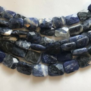 Shop Sodalite Faceted Beads! Sodalite 14x10x5mm 16x12x6mm Faceted Flat Rectangle Natural Gemstone Beads — 15.5 inch strand | Natural genuine faceted Sodalite beads for beading and jewelry making.  #jewelry #beads #beadedjewelry #diyjewelry #jewelrymaking #beadstore #beading #affiliate #ad