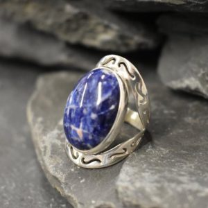 Shop Sodalite Rings! Sodalite Ring, Blue Sodalite Ring, Large Sodalite Ring, Natural Sodalite, Oval Vintage Ring, Large Stone Ring, Blue Ring, Solid Silver Ring   Natural genuine Sodalite rings, simple unique handcrafted gemstone rings. #rings #jewelry #shopping #gift #handmade #fashion #style #affiliate #ad