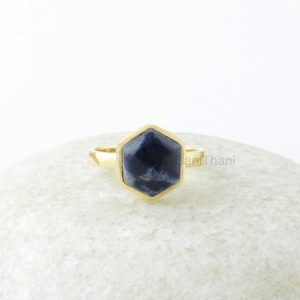 Shop Sodalite Jewelry! Sodalite Ring, Sodalite Gemstone 10mm Hexagon Sterling Silver Ring, Gemstone Ring, 18k Gold Plated Ring, Jewelry Gift For Women | Natural genuine Sodalite jewelry. Buy crystal jewelry, handmade handcrafted artisan jewelry for women.  Unique handmade gift ideas. #jewelry #beadedjewelry #beadedjewelry #gift #shopping #handmadejewelry #fashion #style #product #jewelry #affiliate #ad