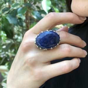Shop Sodalite Rings! Large Sodalite Ring, Sodalite Ring, Natural Sodalite, Blue Oval Ring, Chunky Ring, Blue Statement Ring, Blue Stone Ring, Solid Silver Ring   Natural genuine Sodalite rings, simple unique handcrafted gemstone rings. #rings #jewelry #shopping #gift #handmade #fashion #style #affiliate #ad