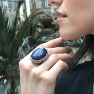 Shop Sodalite Rings! Large Sodalite Ring, Natural Sodalite, Statement Ring, Vintage Ring, Heavy Ring, Large Oval Ring, Dark Blue Ring, Artisan Ring, Silver Ring   Natural genuine Sodalite rings, simple unique handcrafted gemstone rings. #rings #jewelry #shopping #gift #handmade #fashion #style #affiliate #ad