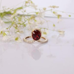 Solitaire Garnet Diamond Ring, Blood Red Engagement Ring, 14k Yellow Gold Band Rare Gemstone Ring, 14k Rose Gold Oval Garnet Pave Ring | Natural genuine Array rings, simple unique alternative gemstone engagement rings. #rings #jewelry #bridal #wedding #jewelryaccessories #engagementrings #weddingideas #affiliate #ad