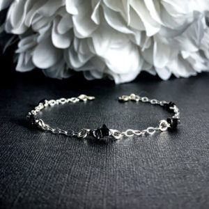 Shop Spinel Bracelets! Black Spinel Ankle Bracelet Sterling Silver Satellite Chain | Natural genuine Spinel bracelets. Buy crystal jewelry, handmade handcrafted artisan jewelry for women.  Unique handmade gift ideas. #jewelry #beadedbracelets #beadedjewelry #gift #shopping #handmadejewelry #fashion #style #product #bracelets #affiliate #ad