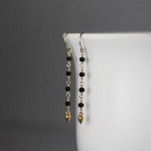 Shop Spinel Earrings! Black Spinel Earrings – Black and Gold Earrings – Matte Gold Earrings – Long Earrings | Natural genuine Spinel earrings. Buy crystal jewelry, handmade handcrafted artisan jewelry for women.  Unique handmade gift ideas. #jewelry #beadedearrings #beadedjewelry #gift #shopping #handmadejewelry #fashion #style #product #earrings #affiliate #ad