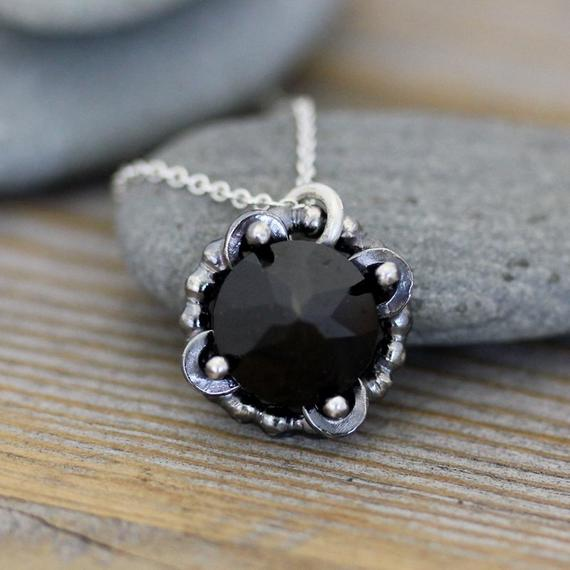 Ready To Ship, Recycled Sterling Silver And Black Spinel  Gemstone Necklace