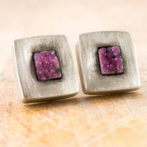 Shop Pink Calcite Jewelry! square silver earrings with cobalt calcite, square oxidized silver earrings, cobalt calcite druse earrings, raw cobalt calcite earrings   Natural genuine Pink Calcite jewelry. Buy crystal jewelry, handmade handcrafted artisan jewelry for women.  Unique handmade gift ideas. #jewelry #beadedjewelry #beadedjewelry #gift #shopping #handmadejewelry #fashion #style #product #jewelry #affiliate #ad
