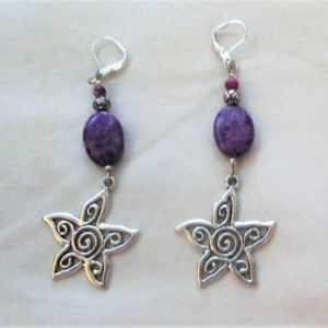 Shop Sugilite Earrings! Star Flower Sugilite earrings – OOAK | Natural genuine Sugilite earrings. Buy crystal jewelry, handmade handcrafted artisan jewelry for women.  Unique handmade gift ideas. #jewelry #beadedearrings #beadedjewelry #gift #shopping #handmadejewelry #fashion #style #product #earrings #affiliate #ad