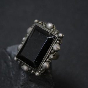 Shop Obsidian Rings! Sterling Silver Chinese Obsidian Ring, Sterling Obsidian Jewelry, Chinese Sterling Jewelry, Big Obsidian Ring, Antique Chinese Jewelry | Natural genuine Obsidian rings, simple unique handcrafted gemstone rings. #rings #jewelry #shopping #gift #handmade #fashion #style #affiliate #ad