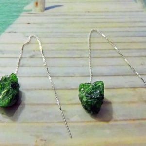 Shop Diopside Earrings! Sterling silver earrings 110mm Chrome diopsides rough 16 / 17mm | Natural genuine Diopside earrings. Buy crystal jewelry, handmade handcrafted artisan jewelry for women.  Unique handmade gift ideas. #jewelry #beadedearrings #beadedjewelry #gift #shopping #handmadejewelry #fashion #style #product #earrings #affiliate #ad